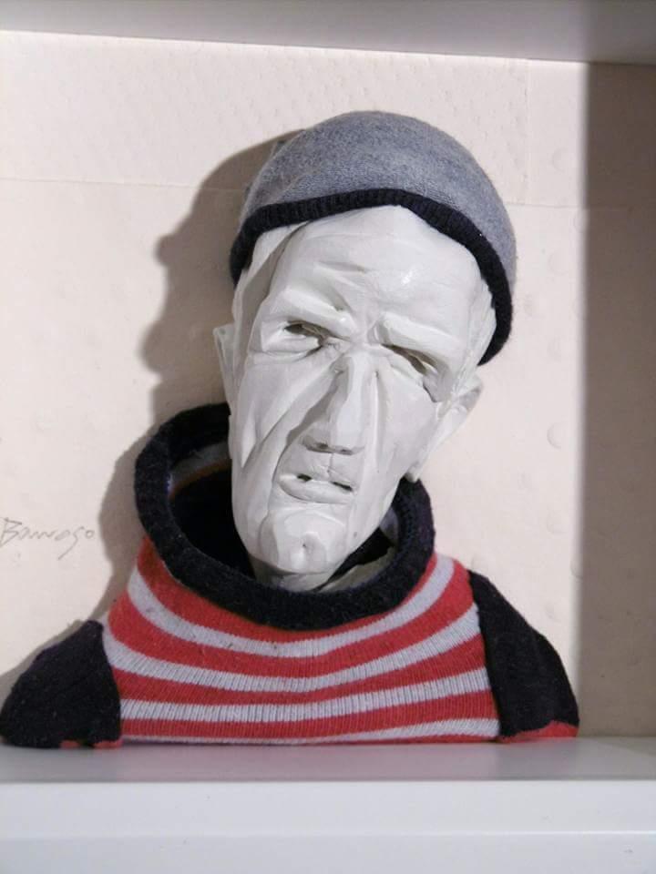 Geschichten von Seeleuten, 25x25x9 cm, Skulptur. Keramik, Textilien, Papier, gerahmt, 2016