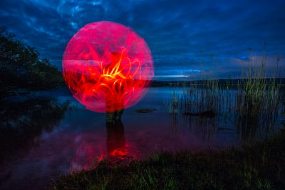 Red Globe // Lightpainting, Kochelsee, 2015, Fine Art Print 30 x 45 cm, 250,-