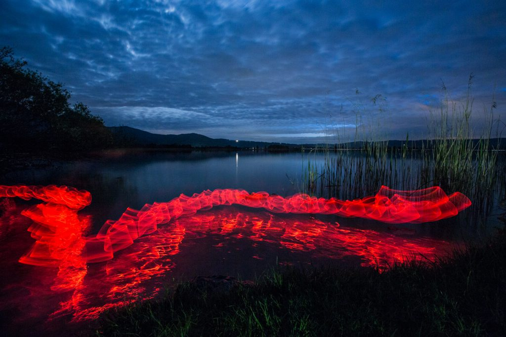 Red Snake // Lightpainting, Kochelsee, 2015, Gallery Print, 140 x 200 cm, 3.500,-