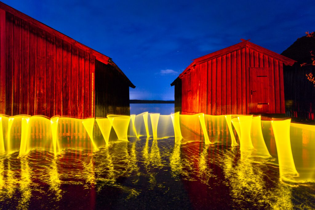 Yellow Curtain // Lightpainting, Ammersee, 2015, Gallery Print, 140 x 200 cm, 3.500,-